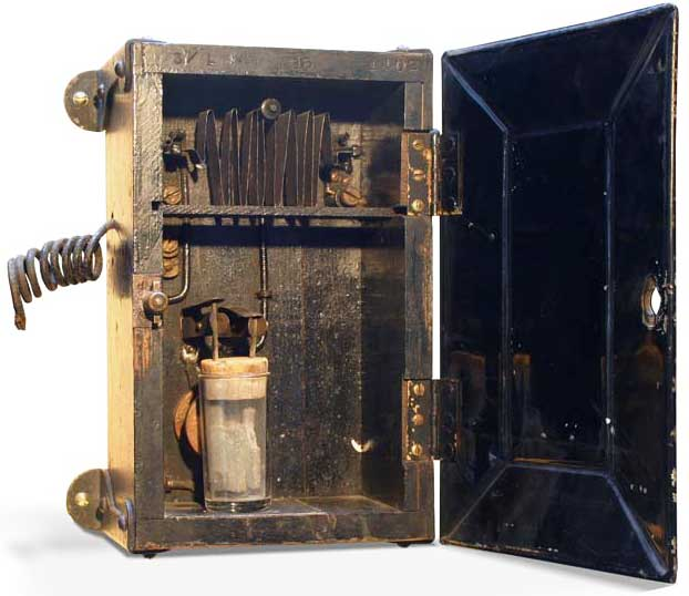"Edison also developed the first <a href=""http://www.sparkmuseum.org/collections/electricity-sparks-invention-(1800-1900)/edison-chemical-meter/"">electric meter</a>, which detected current usage by monitoring the transference of copper via electrolysis. Courtesy the Spark Museum of Electrical Invention."