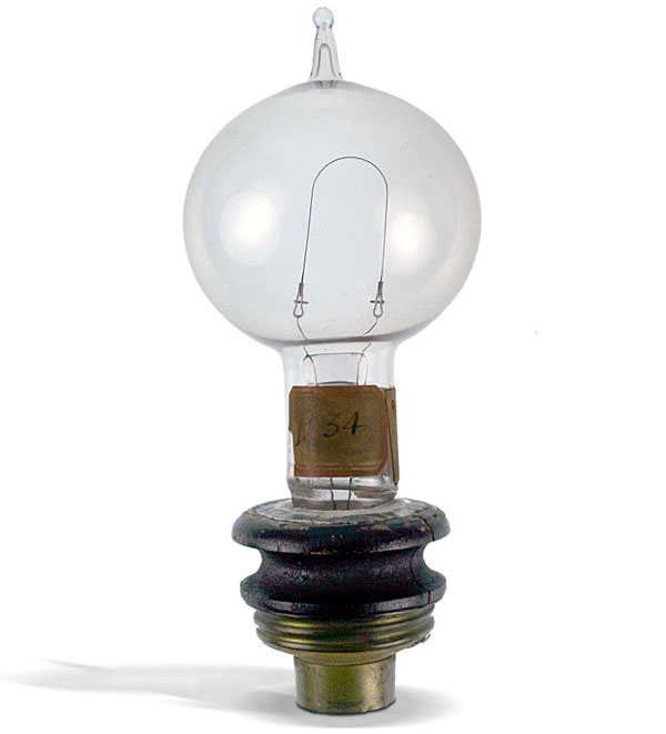 Edisonu0027s Original Screw Base Prototype Using A Kerosene Can Lid From 1880.  Courtesy