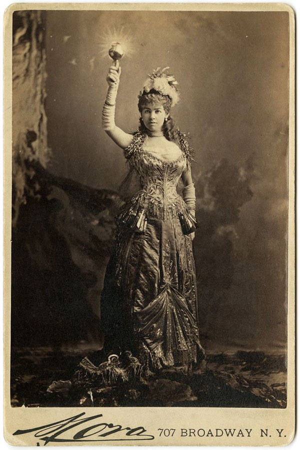 "Alice Vanderbilt dressed as ""Electric Light"" for a costume ball in 1883."