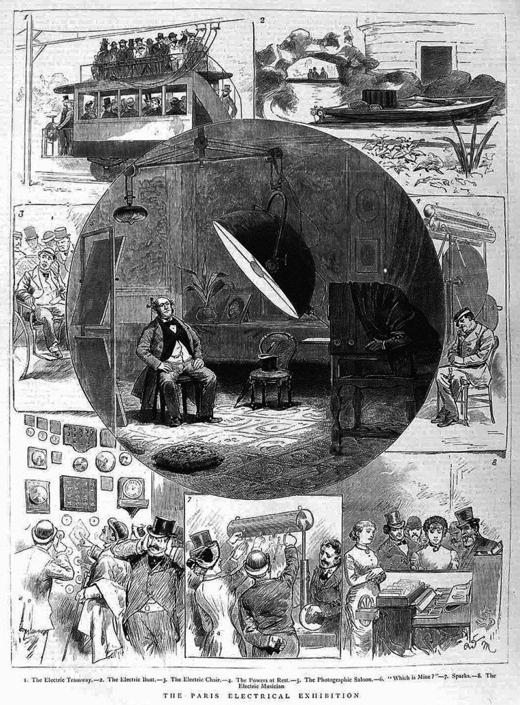 "Illustrations from a British magazine called ""The Graphic"" featuring some of the impressive innovations shown at the Paris Exposition of Electricity in 1881."