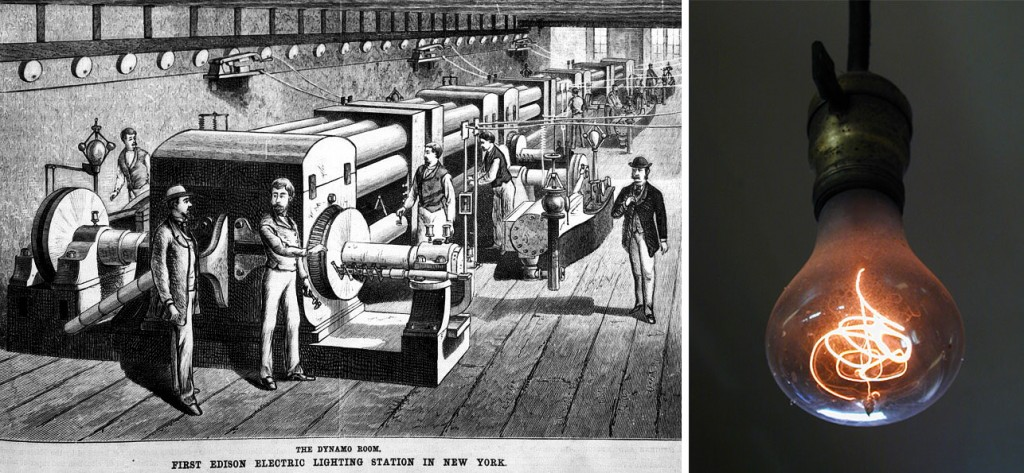 """Left, an illustration of Edison's Pearl Street Power Station from """"Scientific American"""" in 1882. Right, The Centennial Bulb in a Livermore, California, firehouse has been in use since 1901."""
