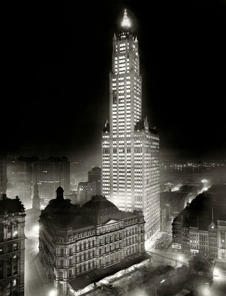 Seen in all its electrified glory when it was completed in 1913, New York's tallest structure, the Woolworth Building, would have been unthinkable in an era without electricity. Via Shorpy.