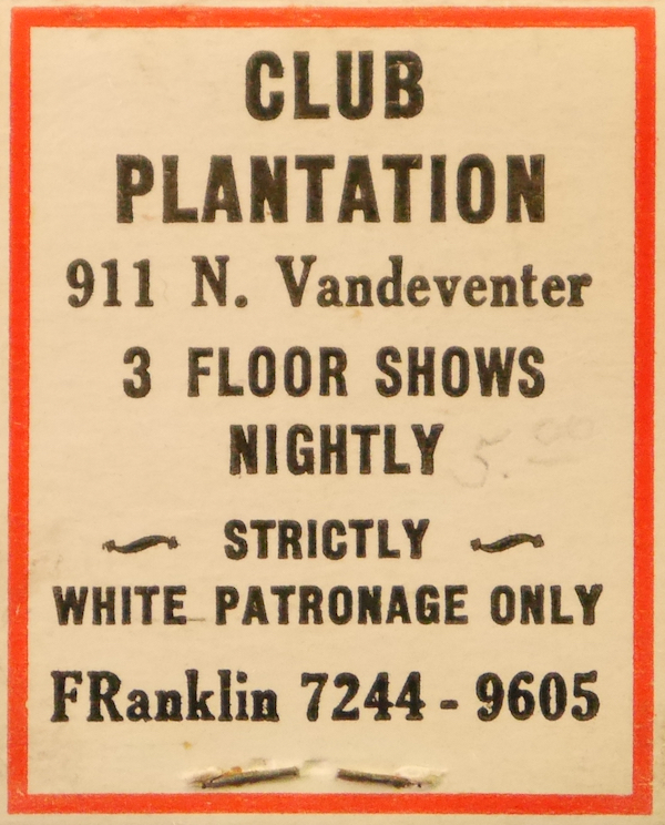 A matchbook from Anita Pointer's collection warned that only white patrons were welcome at Club Plantation. (Photo by Roxie Mckain and Jacinta Dellinger)