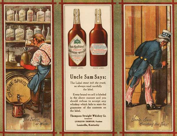 After Congress passed the Bottled-in-Bond Act of 1897, bonded distilleries often used Uncle Sam in their advertising to reinforce the superiority of their alcohol.