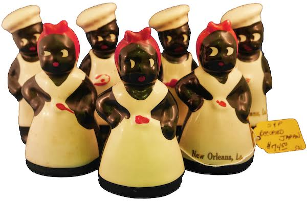 Anita Pointer collected these Mammy and Chef salt-and-pepper shakers, which were originally New Orleans souvenirs. (Photo by Roxie Mckain and Jacinta Dellinger)
