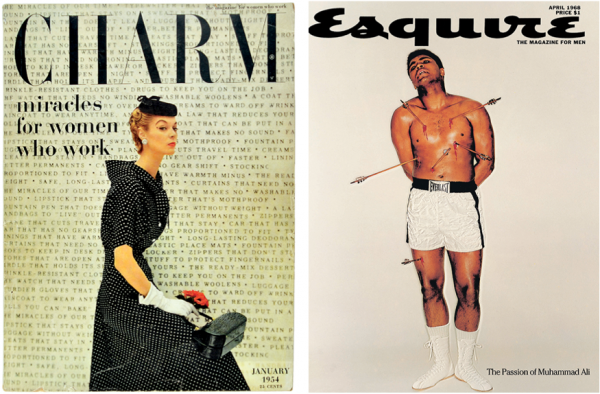 "Left: A cover for ""Charm"" magazine from 1954 by Cipe Pineles. Right: A cover for ""Esquire"" magazine from 1968 by George Lois."