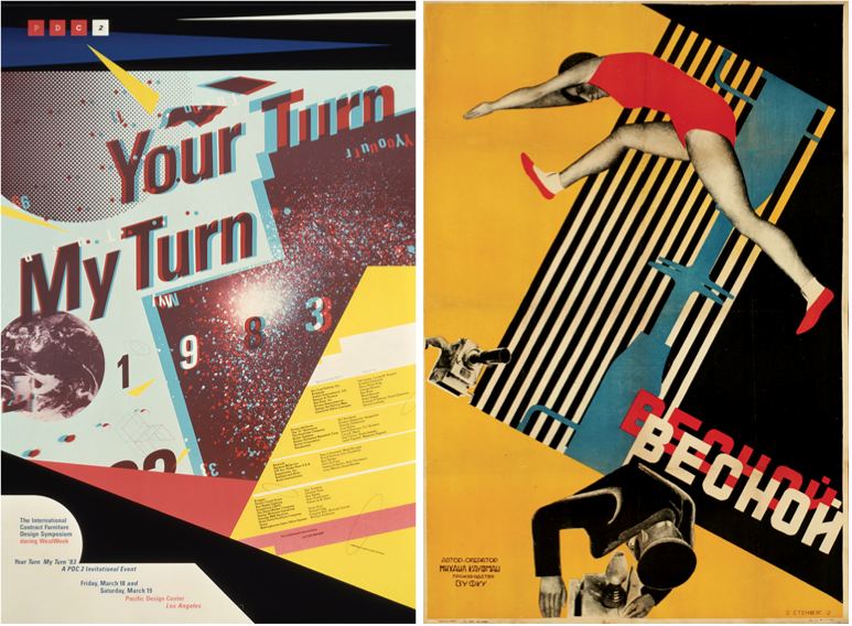 "Left: A 3-D poster for a design symposium called ""Your Turn My Turn"" from 1983 by April Greiman. Right: A poster for the 1929 film ""In the Spring"" by Vladimir and Georgii Stenberg."