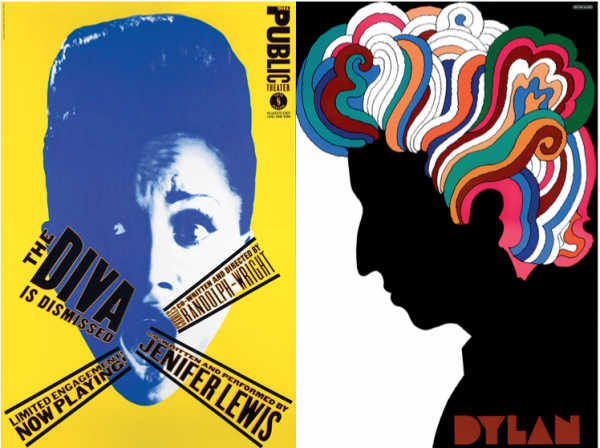 "Left: A Paula Scher poster from 1994 for ""The Diva is Dismissed."" Right: Milton Glaser's Bob Dylan poster, 1968."
