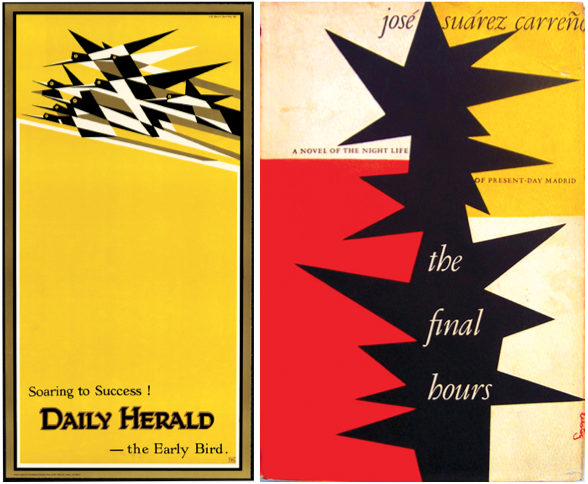 "Left: Edward McKnight Kauffer's poster for the ""Daily Herald"" newspaper from 1918. Right: A book cover by Alvin Lustig from 1953."