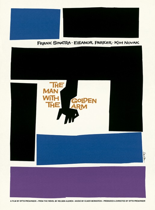 "Poster for the film ""The Man With the Golden Arm,"" 1955, by Saul Bass."