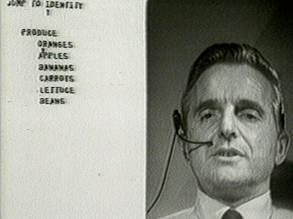 "Doug Engelbart, seen here in a still from a video of ""The Mother of All Demos,"" 1968, believed computers should be used to augment the human intellect rather than replace it."