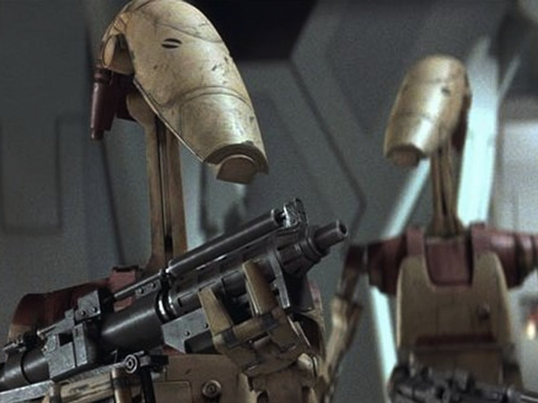 "Battle droids from ""The Phantom Menace."" Organizations such as the Future of Life Institute are pushing to ban the development of non-fictional versions of these types of autonomous weapons."