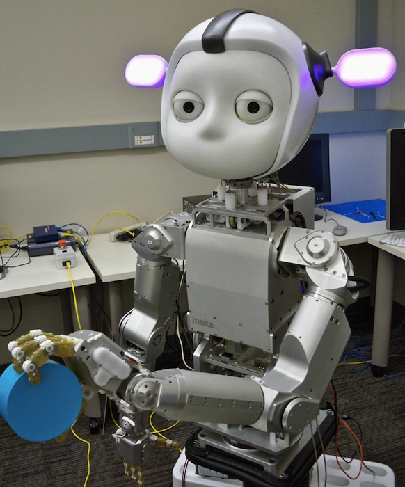Simon, one of several cute robots designed by Meka Robotics, also owned by Google.