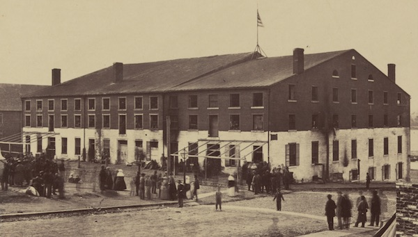 The Libby Prison was the second Richmond tobacco warehouse converted into a Confederate military prison. The guards whitewashed the walls to make it easier to spot escapees. (Via Library of Congress)