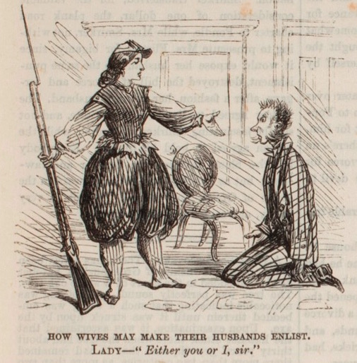 "Frank Leslie's 1863 cartoon ""The Art of Inspiring Courage"" shows a woman threatening to join the Union army if her husband doesn't. (Courtesy of Karen Abbott)"