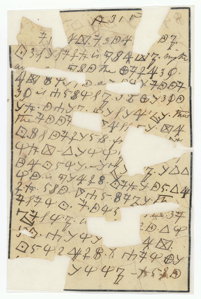 An encrypted note written by Rose O'Neal Greenhow. (Via World Digital Library, National Archives)