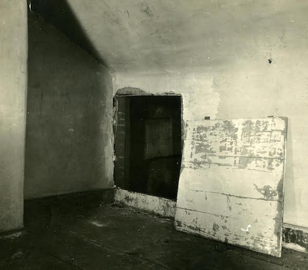 "The entrance to the secret room in Elizabeth Van Lew's mansion. (From ""Liar, Temptress, Soldier, Spy"")"