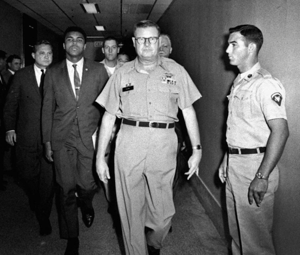 On April 28, 1967, boxer Muhammad Ali is arrested for refusing to be inducted into the U.S. Army.