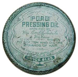 A tin of Annie Malone's Poro Pressing Oil, circa 1910s.