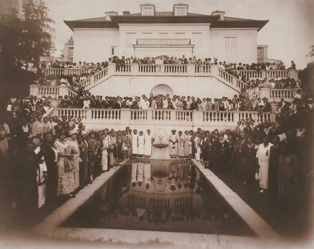 Guests gather at Villa Lewaro for the 1924 Madam Walker Beauty Culturists and Agents convention.