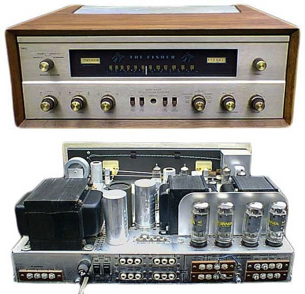 The author grew up listening to a Fisher 500-C, which was powered inside by no less than 18 vacuum tubes. Via US Audio Mart