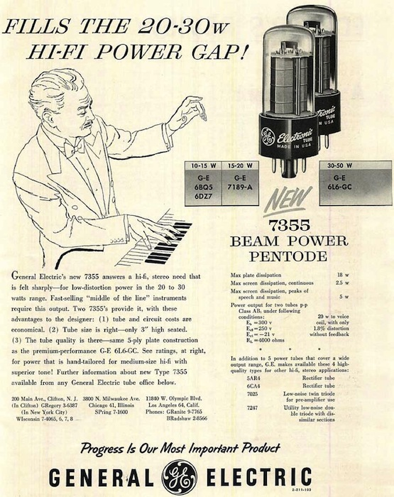 "From the beginning, tube brands associated themselves with high fidelity. The tube advertised here is a pentode, which has five interior elements instead of three, like a triode. Via <a href=""http://vintagevacuumaudio.com/"">Vintage Vacuum Audio</a>"