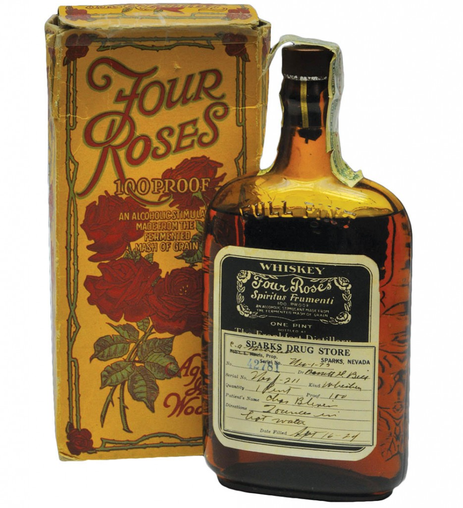 "This bottle of Four Roses from 1924 includes a full prescription from a drugstore in Sparks, Nevada. Photo from ""The Art of American Whiskey,"" courtesy of Four Roses."