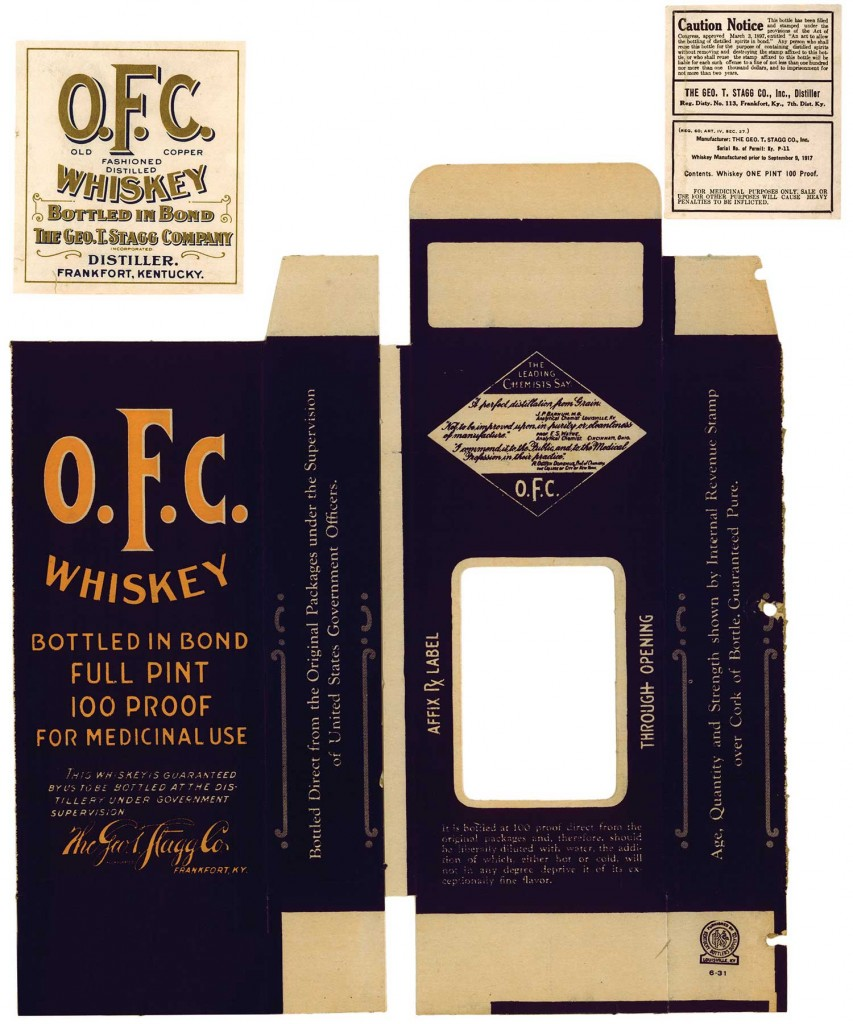 "During Prohibition, O. F. C. packaged its bottles into boxes that included an endorsement from ""leading chemists"" of the time. Photo from ""The Art of American Whiskey,"" courtesy of Buffalo Trace Distillery. (Click to enlarge)"