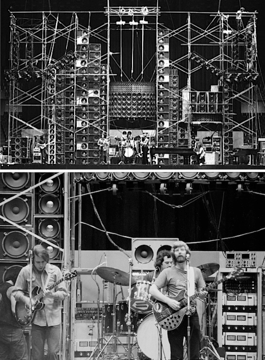 "The Grateful Dead's ""Wall of Sound"" from 1974 was driven by 48 McIntosh MC2300 amps, producing 28,800 watts of power. A stack of the amps can be seen behind bassist Phil Lesh. Images courtesy <a href=""http://www.rpechner.com/"">Richard Pechner</a>"