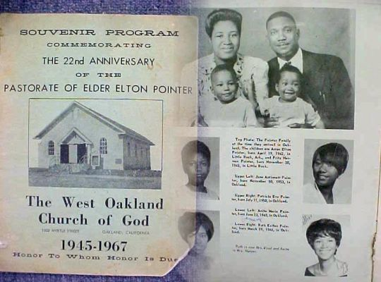 A souvenir program honors Elton Pointer's 22nd year as pastor of the West Oakland Church of God. (Via ThePointerSisters.com)