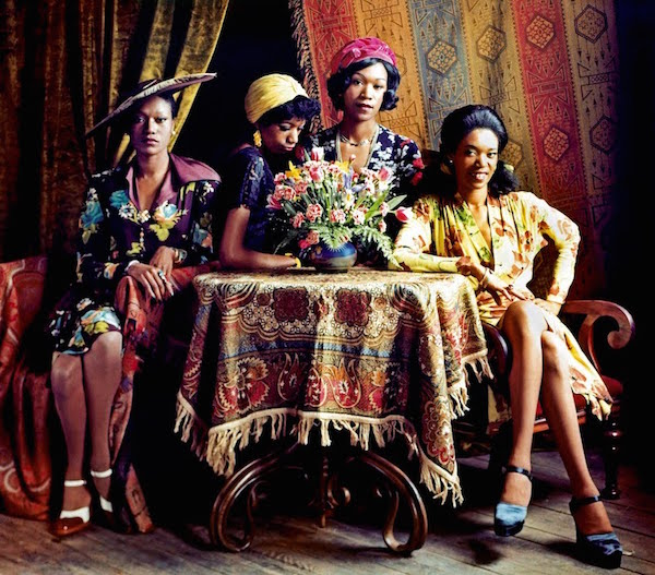"This shot of the Pointer Sisters in their own vintage clothes (Anita is on the far right) was inverted and used as the cover of their first album, ""The Pointer Sisters,"" in 1973."