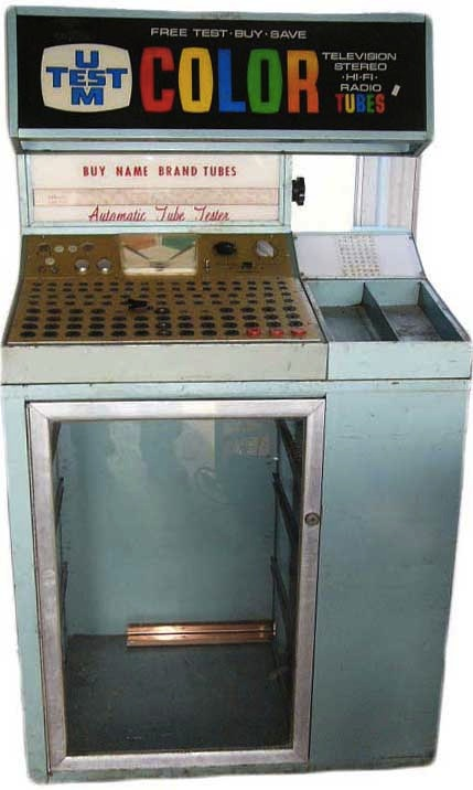 Tube testers like this one were common in U.S. drugstores throughout the 1950s and well into the 1960s. Via Canuck Audio Mart