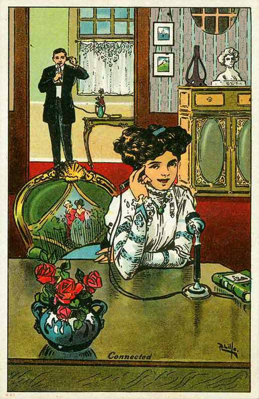 This postcard from 1912 suggested that Americans had become overly reliant on the telephone, even when speaking to someone in the same room.