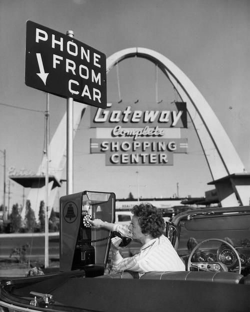 "We'd be much safer if cell phone use required cars to be stationary, as with this ""drive-up telephone"" from 1959."