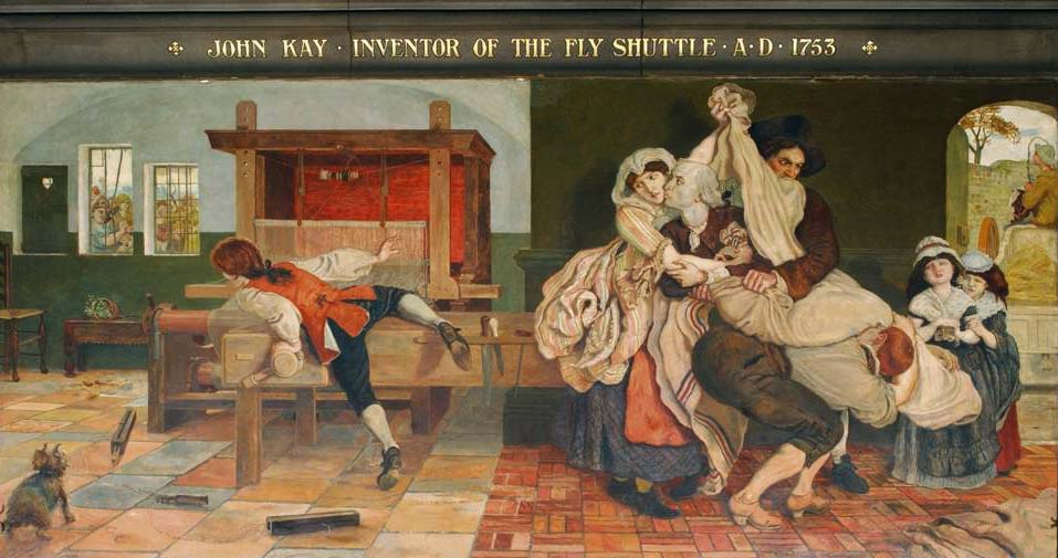 Ford Madox Brown's 1888 mural at the Manchester Town Hall in Manchester, England, depicts John Kay being smuggled out of his home as a Luddite mob attempts to destroy his famous fly shuttle.