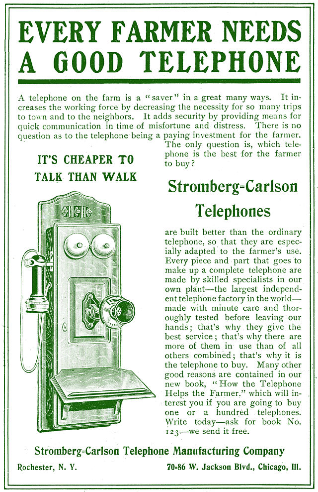 Early telephone advertising focused on the professional uses for telephones, seen in this Stromberg-Carlson ad from 1905. Via Wikimedia Commons.