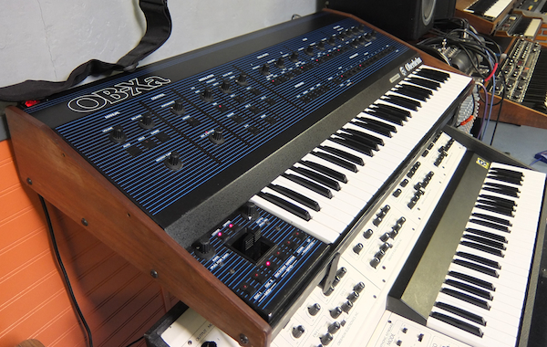 An Oberheim OB-Xa (top) and Oberheim 4-Voice at the Vintage Synthesizer Museum.