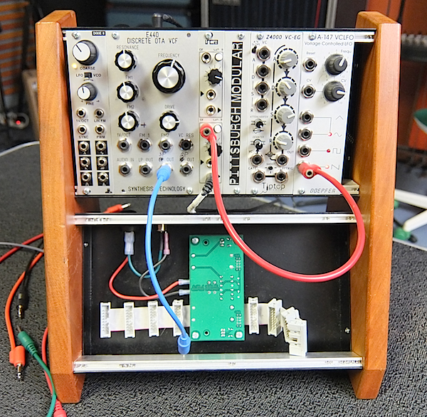 Hill used this smaller Eurorack setup to demonstrate how to build a sound on a synthesizer.