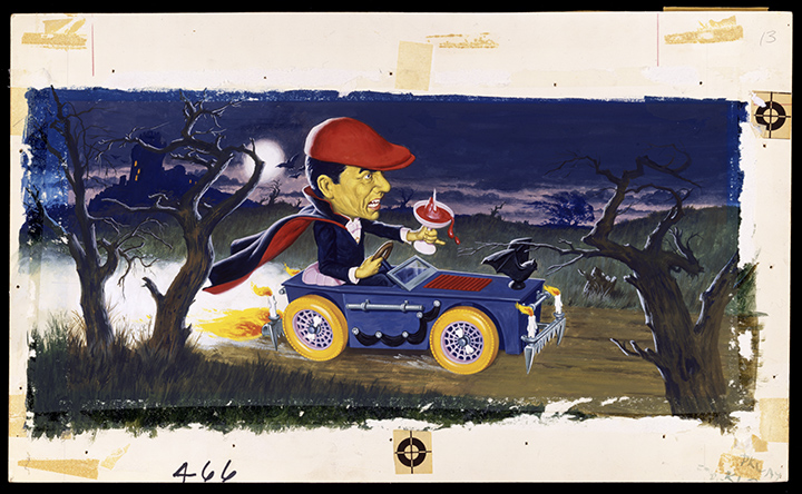 "This James Bama painting of Dracula driving—holding a martini garnished with a staked heart—was created as box art for the Aurora hot-rod model Dracula's Dragster. (From ""Too Much Horror Business"")"