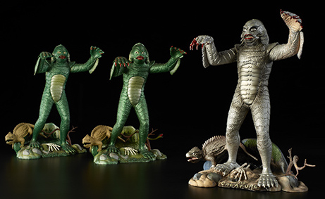 "On the left are two Aurora factory-painted display models of the Creature From the Black Lagoon. On the right is the more-detailed original sculpture the models were based on. (From ""Too Much Horror Business"")"