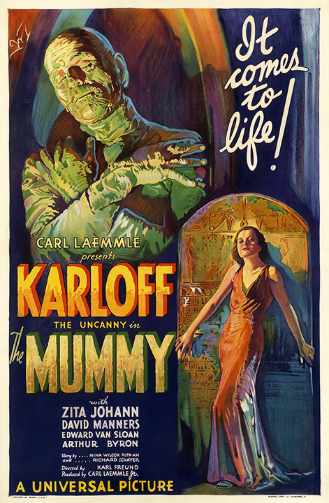 "One of two original 1932 one-sheet designs for ""The Mummy,"" which sell for six figures. Hammett has both. (From ""Too Much Horror Business"")"