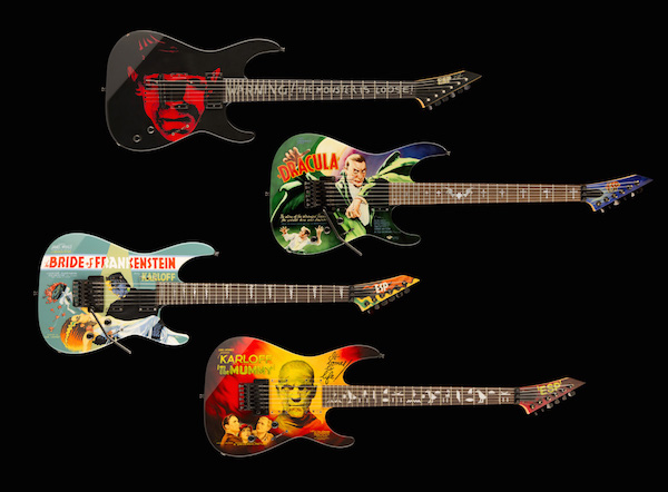 Performing with Metallica, Hammett plays four different ESP guitars based on rare 1930s posters for Universal monster movies—the Mummy guitar is the most popular. (Photo courtesy of SFO Museum)