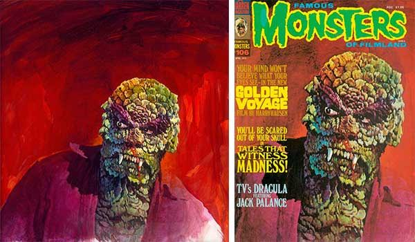"Hammett has original paintings by Basil Gogos, like this one of the Sun Demon, done for the cover of ""Famous Monsters of Filmland."" (Photo courtesy of SFO Museum and ""Too Much Horror Business"")"