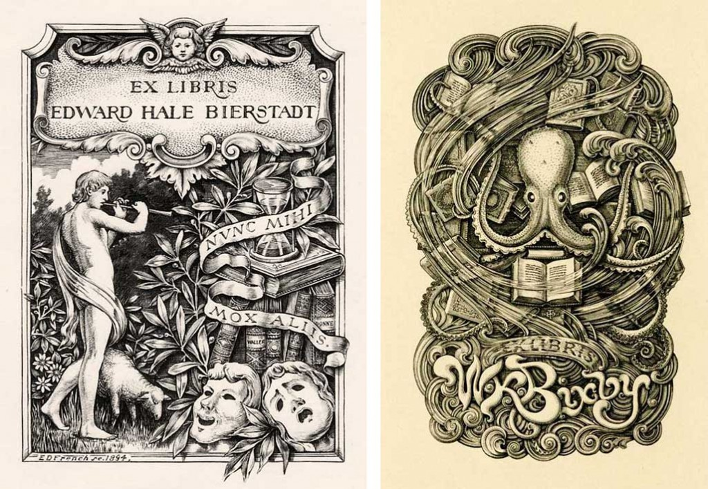 Edwin Davis French was renowned for his bookplates. Left, a classical design for Edward Hale Bierstadt from 1894, and right, an underwater fantasy for W.K. Bixby from 1906. (Images courtesy Lew Jaffe)