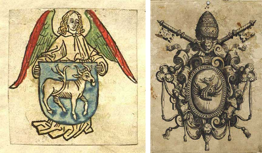 "Top: A noir woodcut for journalist John Kobler, circa 1930s. Above: Left, the first-known bookplate, circa 1470s, was used in the books of monk Hildebrand Brandenburg of Biberach, which he donated to his monastery in Buxheim, Germany. (Via the <a href=""http://brandeisspecialcollections.blogspot.com/2009/04/first-bookplate.html"">Brandeis University Special Collections</a>) Right, Pope Gregorio XIII's bookplate crest from around 1572. (From the collection of <a href=""http://bookplatejunkie.blogspot.com/2015/09/bookplate-odds-and-ends-9262015.html"">Luigi Bergomi</a> - click to enlarge.)"