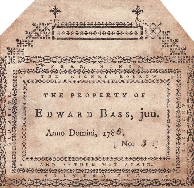 Name labels, like this design for Edward Bass, Jr., were a cheaper version of bookplates. (Image courtesy Lew Jaffe - click to enlarge.)
