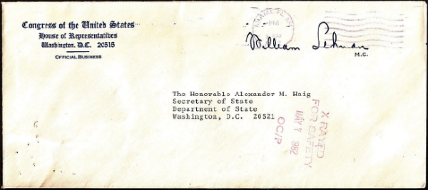 "The sideways mark in red on the front of this envelope addressed to U.S. Secretary of State Alexander Haig shows that it was ""X Rayed for Safety"" on May 7, 1982."