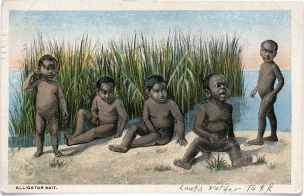 "This 1920s ""Alligator Bait"" postcard is a variant of a 1896 print. (From ""Understanding Jim Crow"")"