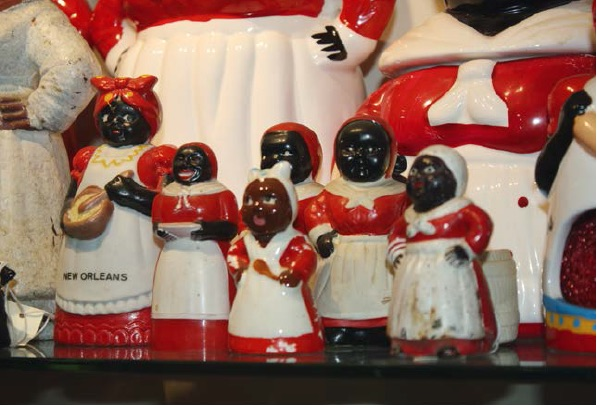 "David Pilgrim's first piece of black memorabilia was a Mammy figure like one of these. He destroyed it in front of the seller. (From ""Understanding Jim Crow"")"
