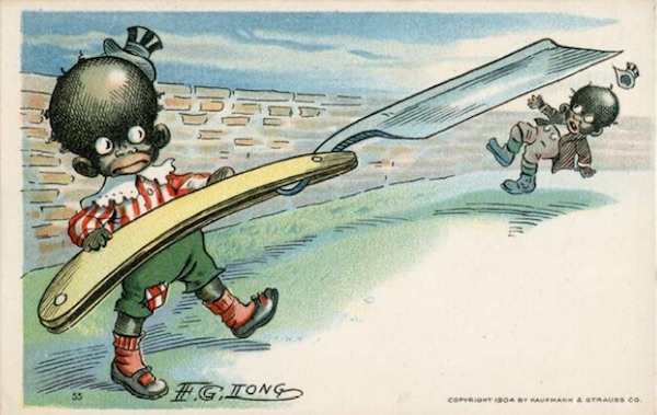 "This 1904 postcard suggests that even little black children are inclined toward violent behavior. (From ""Understanding Jim Crow"")"